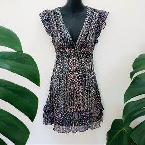 Alivo boho dress floral frills low v neck
